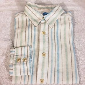 Tommy Bahama White & Blue Stripe Linen Shirt M